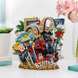 """50 Today"" Male 3D Birthday Card"