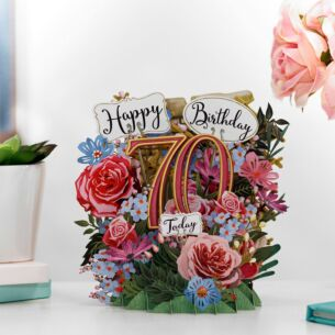 """Birthday Flowers 70"" 3D Birthday Card"