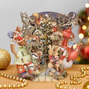 Christmas Bunnies 3D Christmas Card