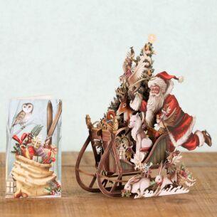 Me & McQ Woodland Sleigh 3D Christmas Card
