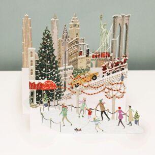 'New York' Zig Zag 3D Christmas Card