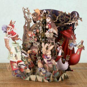 Me & McQ Christmas Bunnies 3D Christmas Card