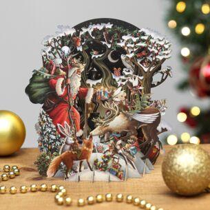 'Santa's Woodland' 3D Christmas Card