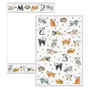 Curious Cats Set of 2 Tea Towels