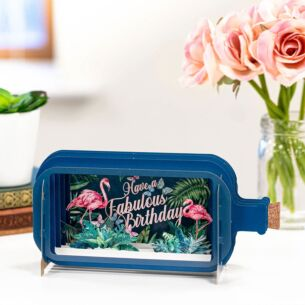 Have A Fabulous Birthday Flamingo Message In A Bottle Card