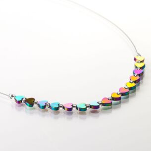 Rainbow Hearts Hematite Necklace