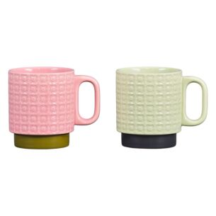 Pressed Flower Green/Pink Set of 2 Mugs