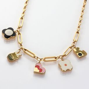 Orla Kiely Gold-Plated Charm Necklace
