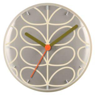 Orla Kiely Pale Grey Linear Stem Wall Clock