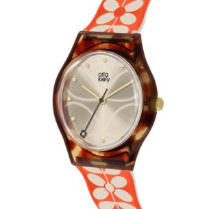 Tortoiseshell with Orange & White Stem Bobby Watch