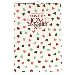 Pink & Green Hearts A3 Home Family Organiser 2021 Wall Calendar