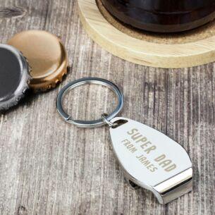 Personalised Super Dad Bottle Opener Keyring