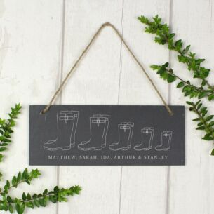Personalised Welly Boot 'Family of Five' Hanging Slate Plaque
