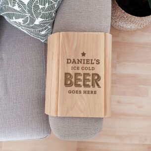 Personalised 'Beer Goes Here' Wooden Sofa Tray