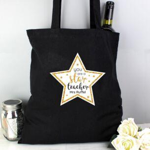 Personalised Star Teacher Black Cotton Bag