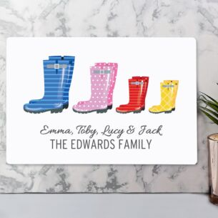 Personalised Our Family Wellies Metal Sign - Family of 4