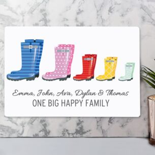 Personalised Our Family Wellies Metal Sign - Family of 5