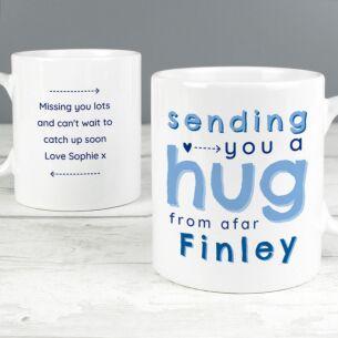 Personalised Blue 'Hug From Afar' Mug