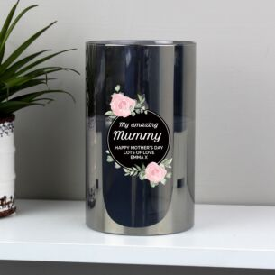 Personalised Floral Smoked Glass Jar LED Candle