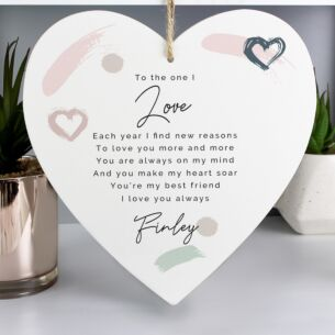 Personalised 'Love' Large Wooden Heart Hanging Decoration