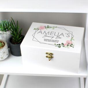 Personalised Abstract Rose White Wooden Keepsake Box