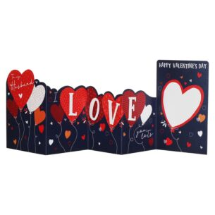 Heart Balloons Husband Zig Zag Valentine's Day Card