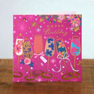 Emerald Champagne Flutes Birthday Card
