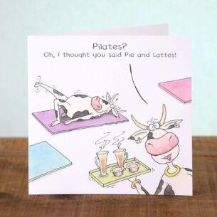 Funny Farm Pie and Lattes Birthday Card