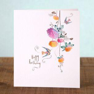 Lemon Sorbet Humming Birds Birthday Card