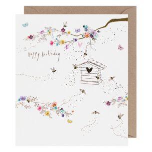 Lemon Sorbet Bees Birthday Card