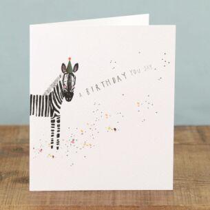 Marshmallow 'Party Hat Zebra' Card