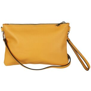 Vegan Leather Convertible Clutch Bag - Mustard
