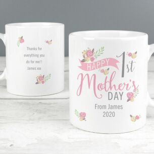 Personalised Floral Bouquet 1st Mother's Day Mug