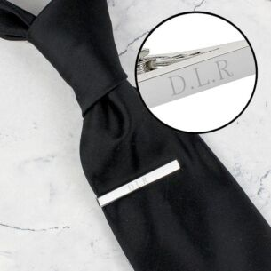 Personalised Silver Plated Tie Clip