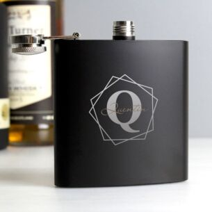 Personalised Boxed Black Geometric Initial Hip Flask
