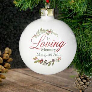 Personalised In Loving Memory Wreath Bauble