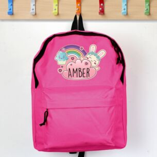 Personalised Pink Cute Bunny Backpack