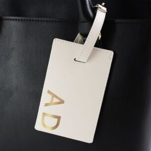 Gold Initials Cream Luggage Tag
