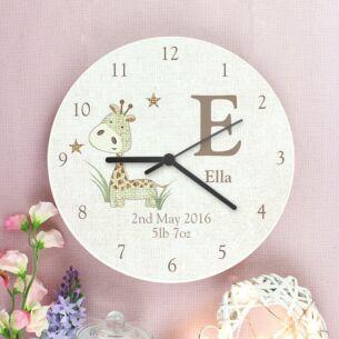 Personalised Hessian Giraffe Wooden Clock