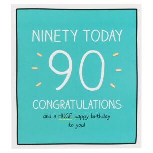 'Congratulations Ninety Today!' Birthday Card