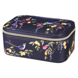 Navy Orchard Birds Jewellery Case
