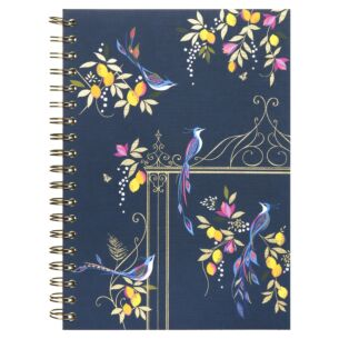 Navy Orchard Birds B5 Spiral Bound Notebook