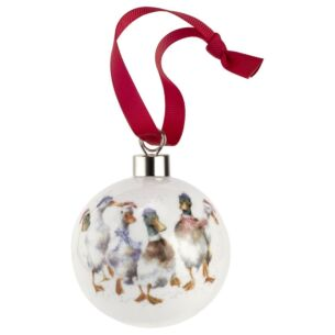 Wrendale All Wrapped Up Ducks Christmas Bauble from Royal Worcester