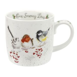 Wrendale Christmas Birds Mug 'One Snowy Day'