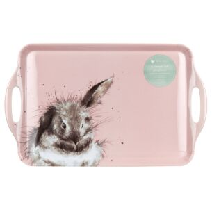 Pink Rabbit Large Handled Tray