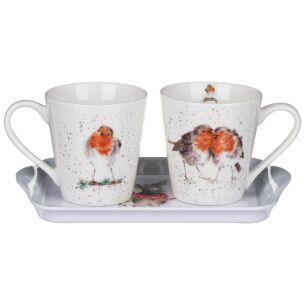 'Winter Friends' 3 Piece Mugs & Tray Set