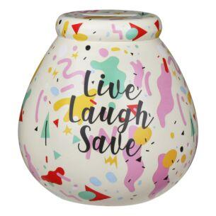 'Live, Laugh, Save' Terrazzo Multi-coloured Money Pot
