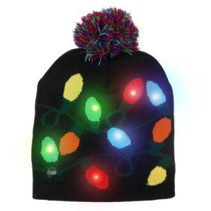 Black LED Light Up Christmas Bobble Hat