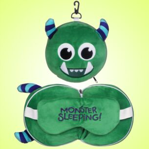 Resteazzz Green Monstarz Monster Travel Pillow & Eye Mask
