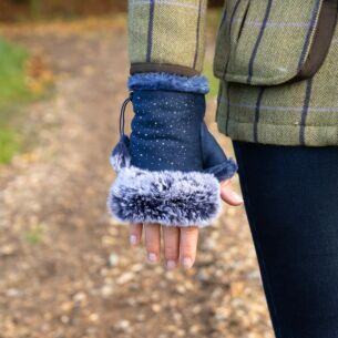 Navy Fingerless Gloves with Silver Gems